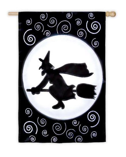 Here Comes the Witch LED Halloween House Flag by House-Impressions. $49.99. Features numerous lights embedded in flag. Hidden battery compartment with timer. Great for yourself or as a gift. EverOptics LED applique flag. This flag features flashing, multi-color lights which can be set with the built-in timer to turn on for 8 hours of night time amazement! Then automatically shut off for 16 hours during the day and then back on the same-time each evening. Each flag ...