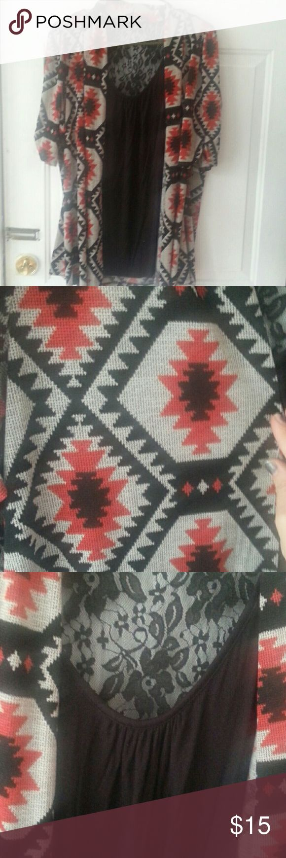 Cardigan with attached cami Aztec design cardingan with black lace cami HeartSoul Tops Blouses