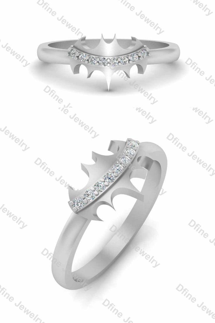Sterling Silver Batman Ring Womens Engagement Wedding Rings