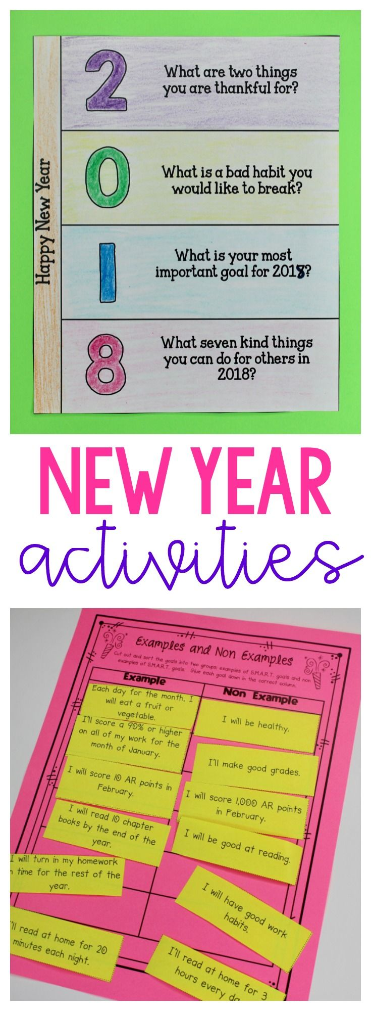 Teach students how to create SMART goals to help set new year goals. Great for upper elementary!