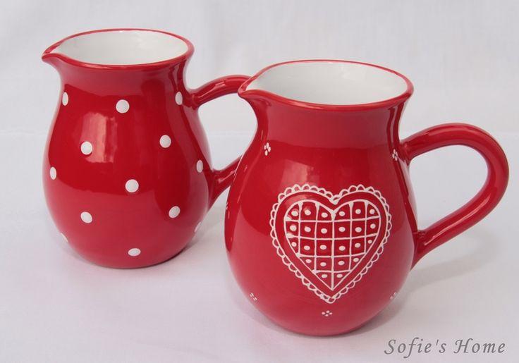 Punkte Polka dots Keramik Krug rot HANDMADE von Sofie's Home Keramik auf DaWanda.com