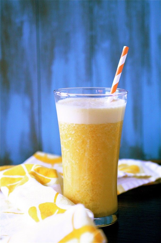 Orange Mango Smoothie --- not sure about some of the ingredients, but I could definitely go for the flavor combo!