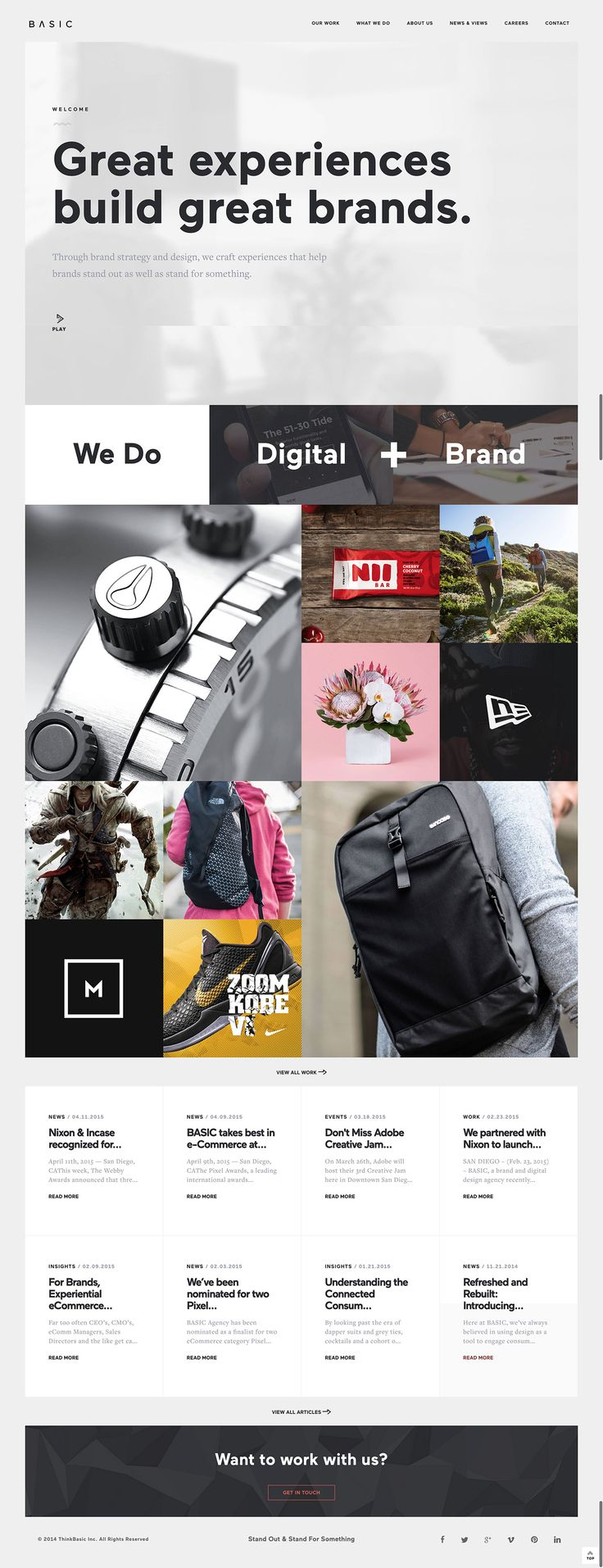 Basic – another great agency website. Strong proposition, I like the call to action of 'we do digital + brand' which pushes the user towards the area they want to view.
