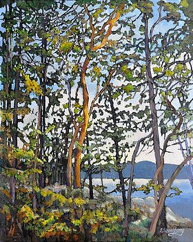 The Golden Touch, Painting of arbutus trees - Eileen Fong