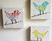 Articoli simili a Set di 3 tele di arte uccello mista su Etsy