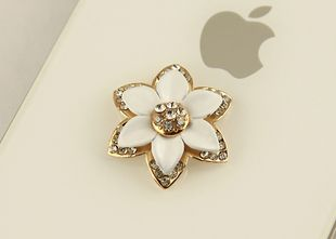5X alloy gold white with crystals 6 petal flowers diy bling phone deco | chriszcoolstuff - Craft Supplies on ArtFire http://www.artfire.com/ext/shop/product_view/6273879