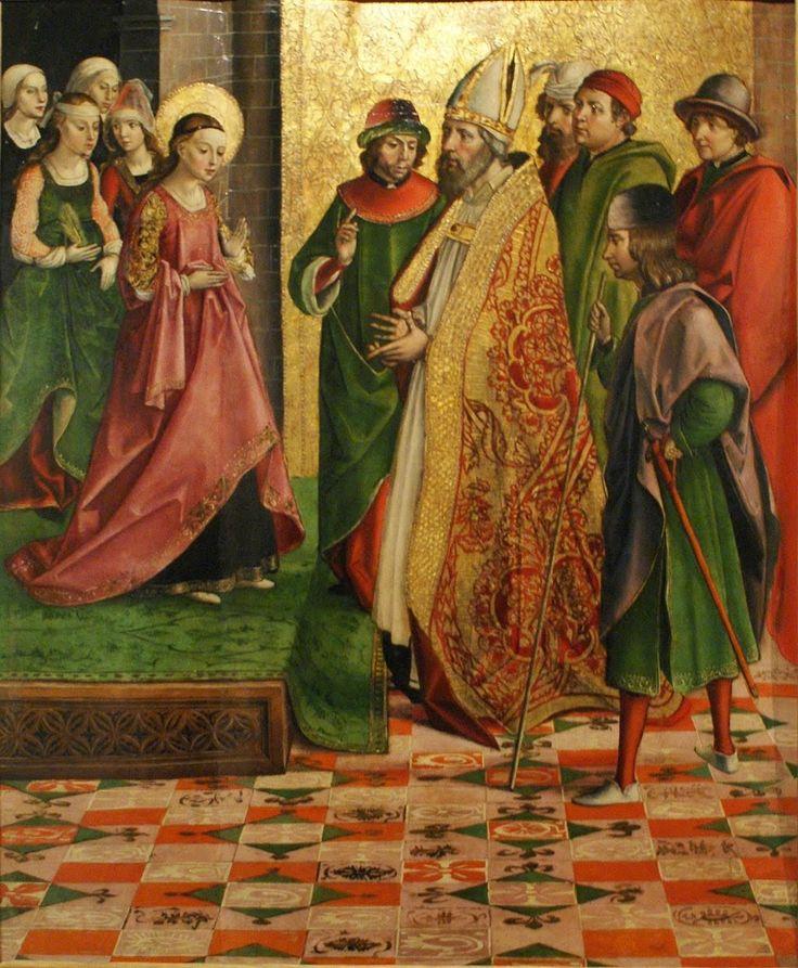 Hacia 1485-90, La Virgen y los pretendiente, Pedro Berruguete, Museo Diocesano de Palencia (detalle)