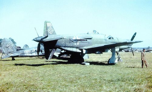 """Captured Dornier DO-335 Pfeil at Oberpaffenhofen in May 1945 The Dornier Do 335 Pfeil (""""Arrow"""") was a World War II heavy fighter built by the Dornier company. The two-seater trainer version was also called Ameisenbär (""""anteater""""). The Pfeil's performance was much better than other twin-engine designs due to its unique """"push-pull"""" layout and the much lower drag of the in-line alignment of the two engines"""
