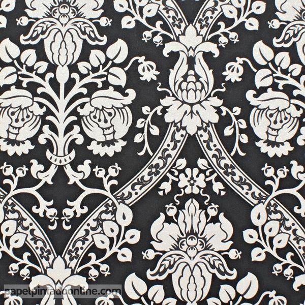 Papel Pintado Flock 4 95689-5, papel de fondo negro con dibujo de elegantes medallones en tono blanco con purpurina.