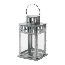 BORRBY Lantern for block candle, galvanised - IKEA