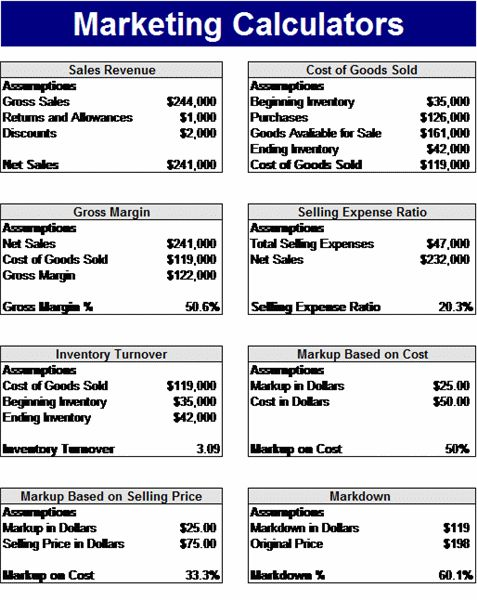 The Marketing Calculator Template Is Specifically Designed For