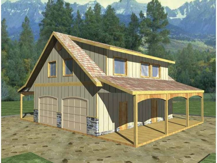 Garage style 0 story 1 bedrooms s house plan with 970 for Barn garage apartment plans