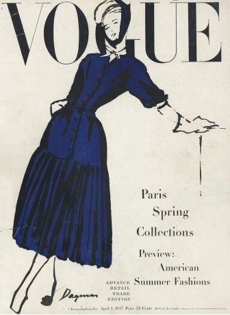 """""""Christian Dior, new house with new vigor, new ideas, here makes a variation of his market-woman skirt—stiffened, standout, pleated at a low mark. The hat is by Maud Roser, white piqué, banded with navy-blue chiffon."""" Illustration by Dagmar Freuchen Gale. Vogue April 1, 1947."""