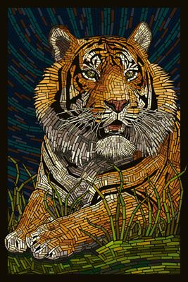Tiger - Paper Mosaic - Lantern Press Poster