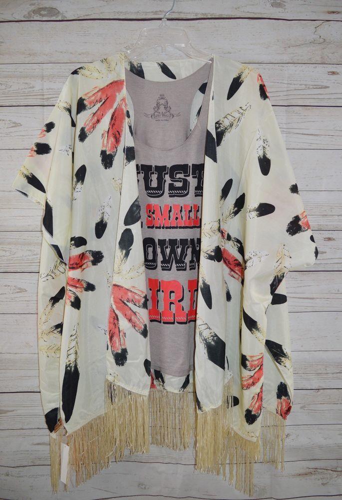 COWGIRL FEATHER Kimono Cardigan Fringe NWT Western BOHO Gypsy ONE SIZE #LOF #cardigantopper