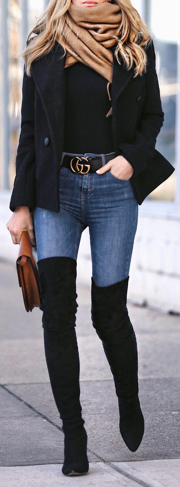 pretty spring outfits / Black Blazer / Skinny Denim / Black OTK Boots / Beige Scarf