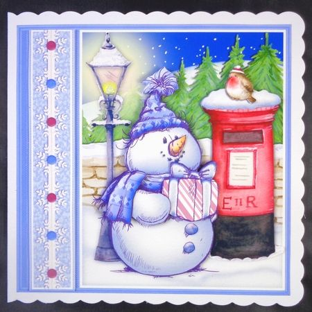 SKETCHY SNOWMAN   POSTBOX Christmas 7 5 Decoupage   Insert Mini Kit on…