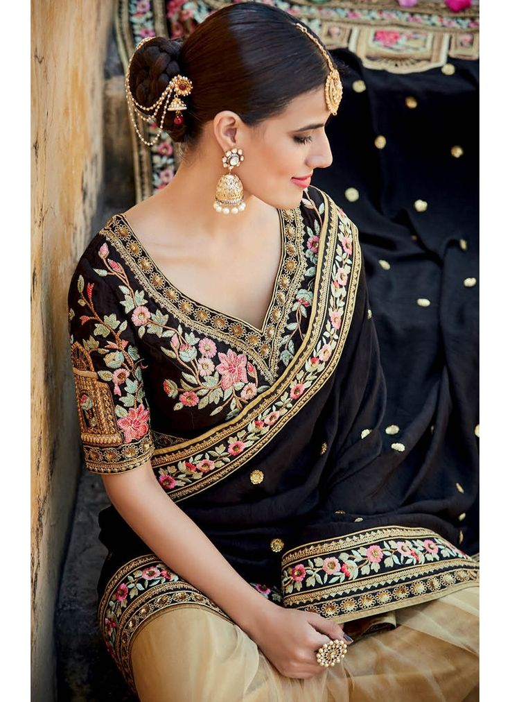 Black and Beige Floral Embroidered Saree