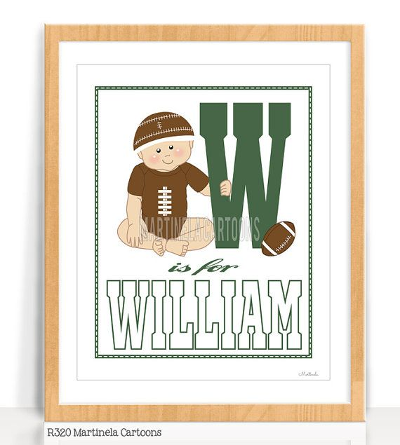 Football kids room decor, baby name nursery wall art. Personalized  baby shower gift first birthday gift, Printable You print.