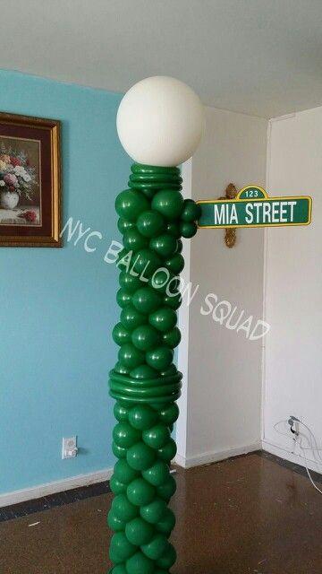 Columna de globos de luz para fiesta de plaza sesamo. #FiestaPlazaSesamo