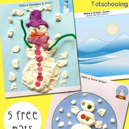 Free Winter Playdough Mats