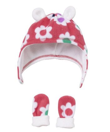 Pink Floral Hat and Mitts Set