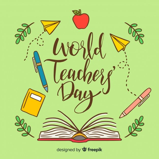 Download Lovely World Teachers Day Composition With Hand Drawn Style For Free Happy Teachers Day Card World Teacher Day World Teachers