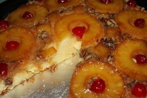 "Iron Skillet ""Pineapple Up-Side-Down Cake   2 sticks butter 1 cup brown sugar 1 box Golden Butter Cake Mix (Duncan Hines) 3 large eggs 1 can pineapple slices (large can) reserve juice 2/3 c…"