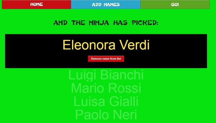 Name Picker Ninja: generatore casuale di nomi