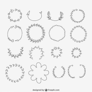 Hand drawn wreaths