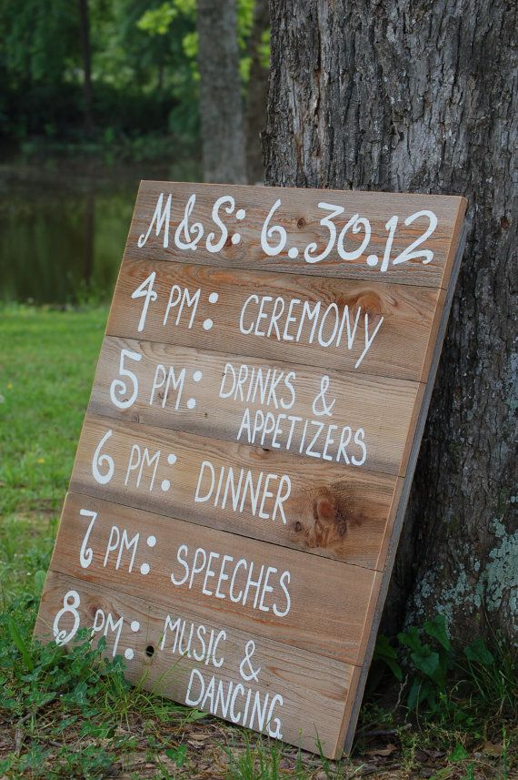 May Etsy Roundup make with pallets and old wood, put this right by where ppl leave ceremony to go to reception area, at bottom of hill