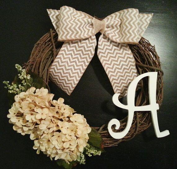 Grapevine Wreath, Door Wreath, Monogram Wreath with Hydrangea, White Inital and a Chevron Burlal Bow on Etsy, $44.00