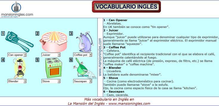 296 best vocabulario ingl s espa ol images on pinterest for Utensilios de cocina en ingles