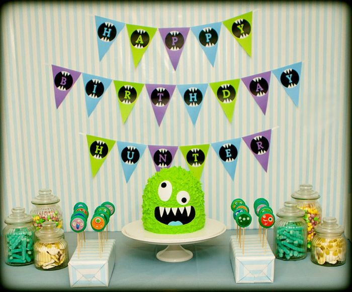 Full Monster Party Theme with Monster Cake and Monster Make-and-Take Favors.