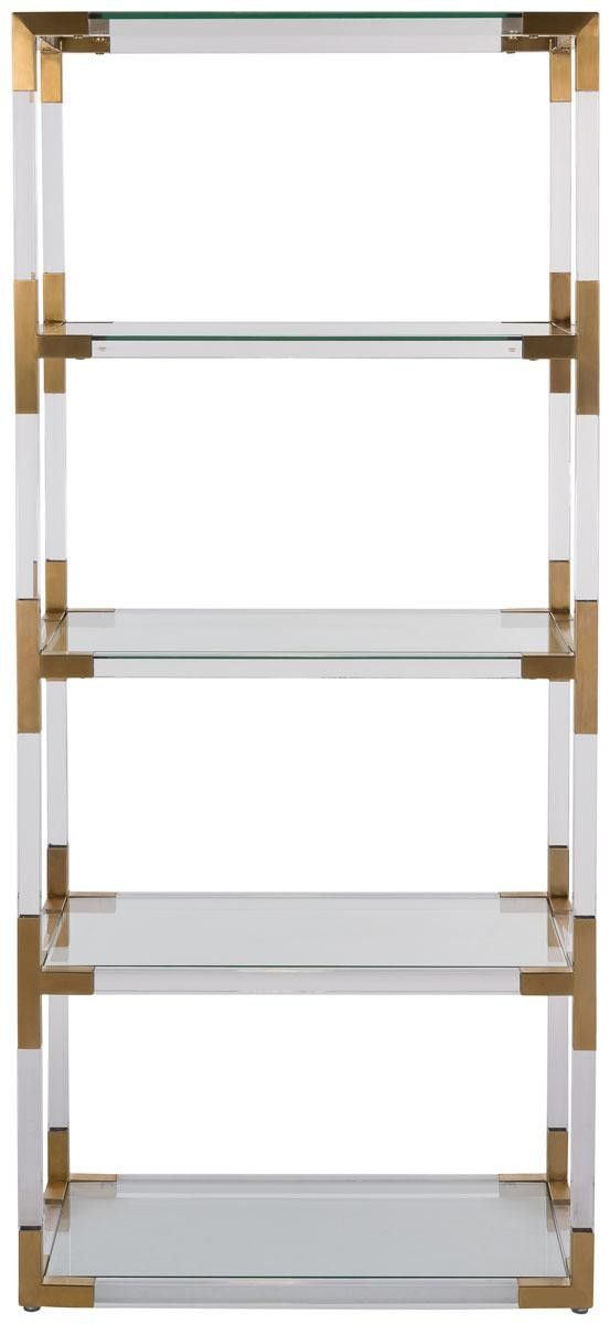 Pop the champagne. The modern romance of the Hayley Bookshelf is the height of luxury. Tall and broad shouldered, its warm bronze brass finish is elegantly juxtaposed with the cool strength of acrylic and glass. It will create an affair to remember.This elegant king size bed measures 30
