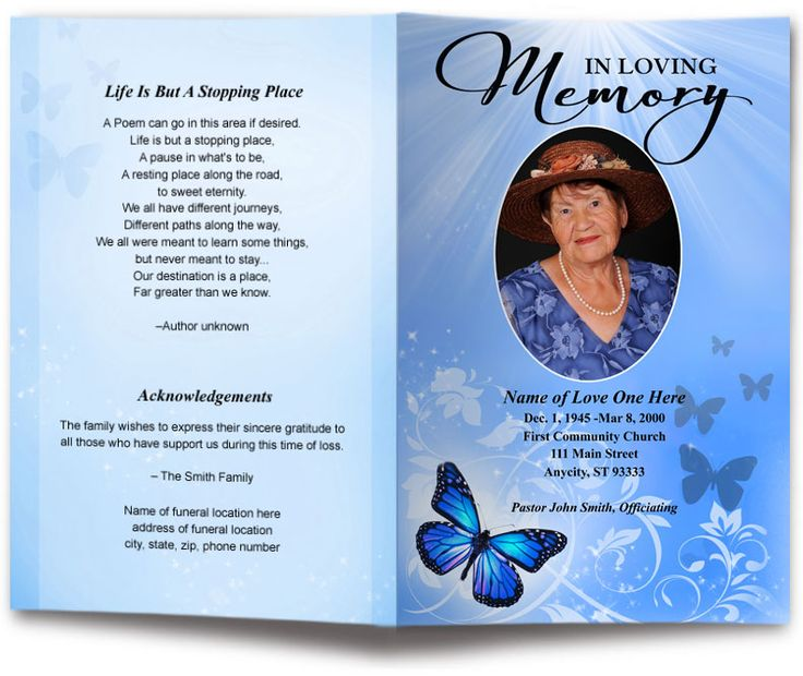 Butterfly Design Funeral Program Template | Funeral Programs | Memorial Programs