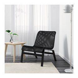 IKEA - NOLMYRA, Fauteuil relax, noir/noir, , Fauteuil léger et facile à déplacer afin de nettoyer le sol ou réaménager la pièce.