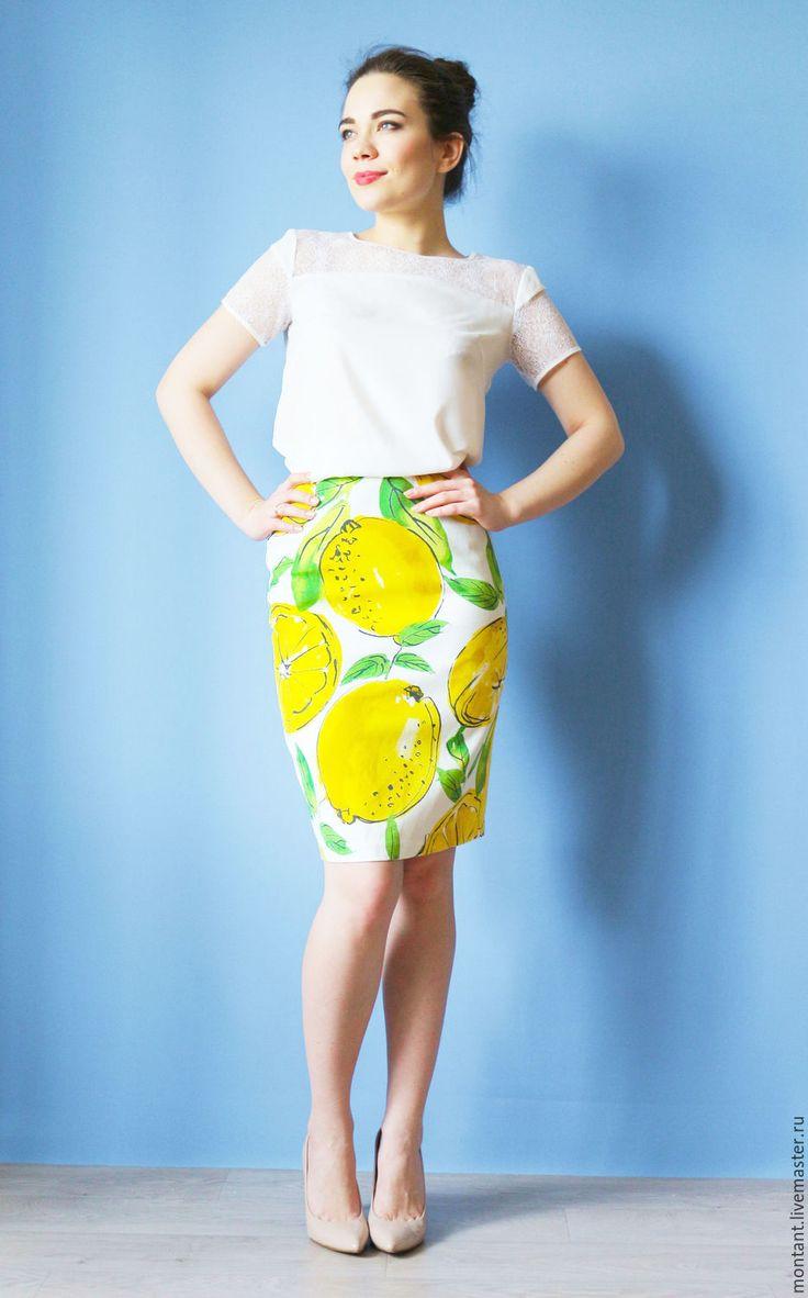 Купить lemon skirt - белый, рисунок, лимонный, юбка летняя, юбка карандаш, хопок, полиэстер