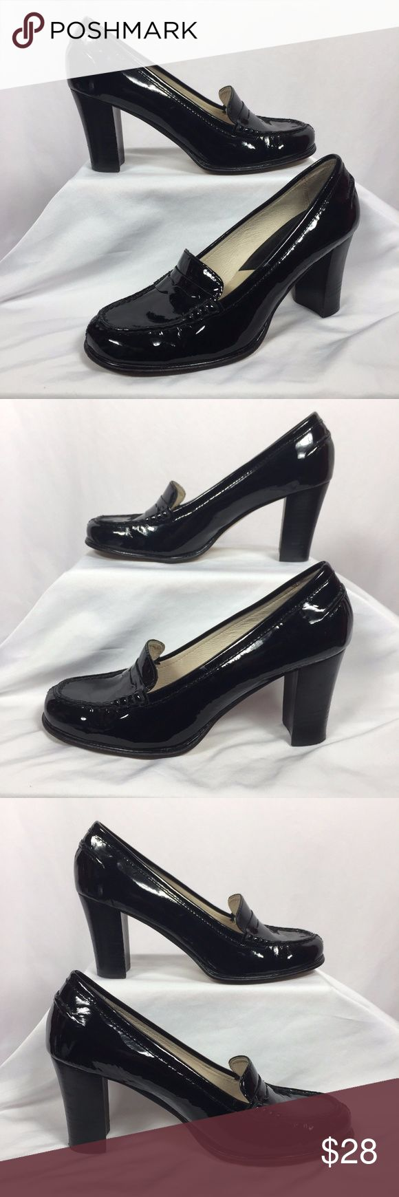 """Kors Black Patent Leather High Heel Loafers 7.5 MICHAEL Michael Kors Bayville Black Patent Leather High Heel Penny Loafers. Great preowned condition. Minor wear to the soles and heel. Classic penny slot on vamp. Rounded toe with decorative stitching. 3"""" block heel. Labeled a 7.5 M. Feel free to contact me with any questions you may have. Please take a look at my other unique listings too. Thanks! KORS Michael Kors Shoes Heels"""