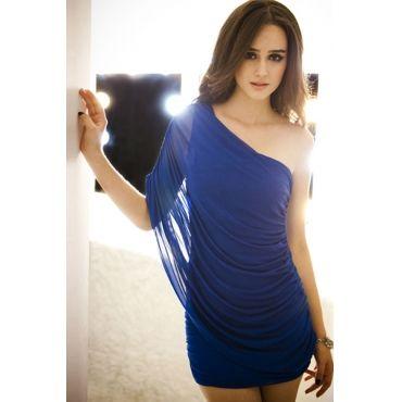 USD10.99Sexy One Shoulder Sleeveless  Cotton Sheath Mini Dress