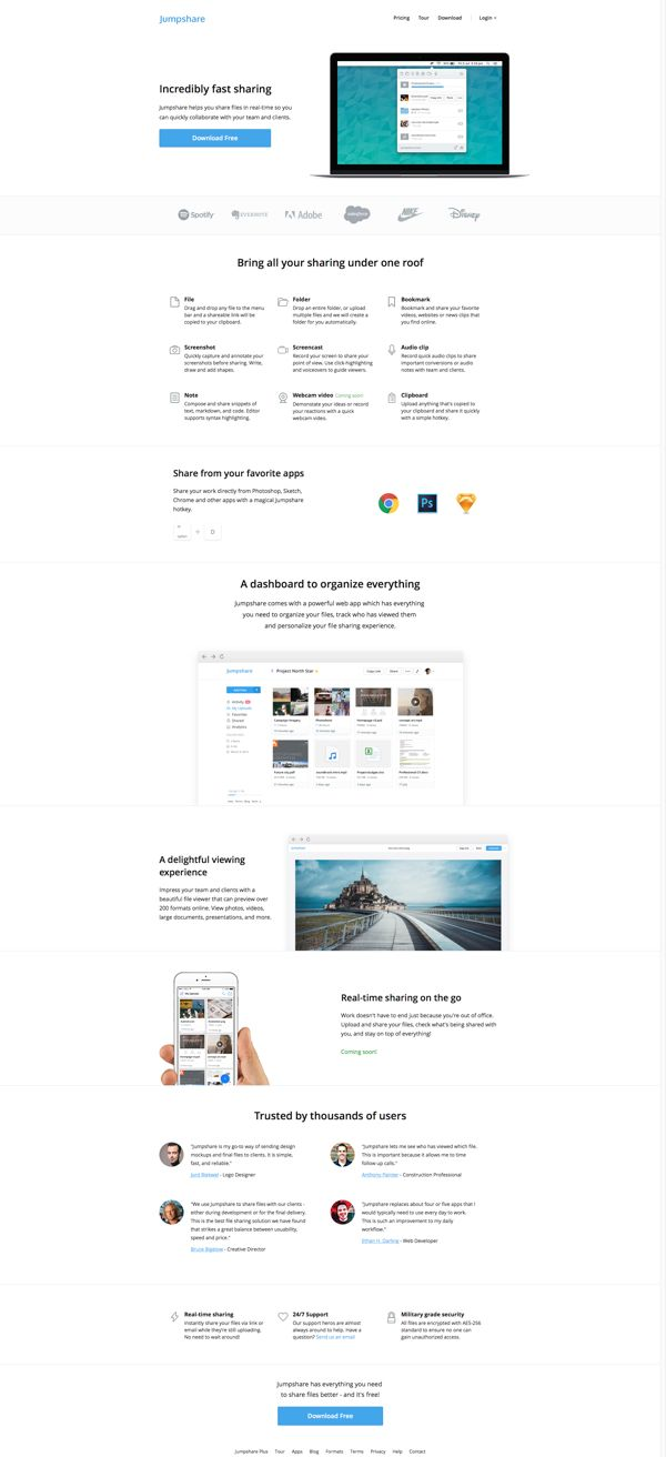 Jumpshare - Incredibly Fast File Sharing | Landing Page Design Inspiration