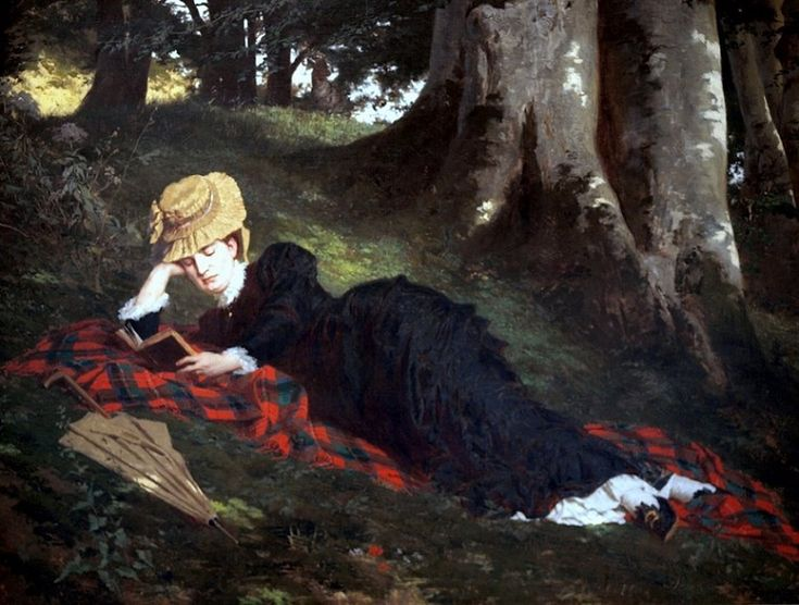 Gyula Benczúr (Hungarian, 1844-1920) - Reading Woman in the Forest, 1875 {Oil on canvas. Hungarian National Gallery (Magyar Nemzeti Galéria), Budapest, Hungary} - - Benczúr, a master of great interiors, leads us outside to the woman reading a book. This picture proves that its master shared the love of nature of the Barbizon painters. This charming idyll in the forest inspires thoughts of melancholy and nostalgia. - Németh György