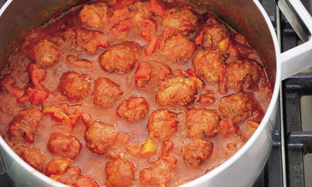 Nigella Lawson: Merguez meatballs in tomato sauce. This is a recipe of fabulous ease and speed, but you'd never guess it to eat it