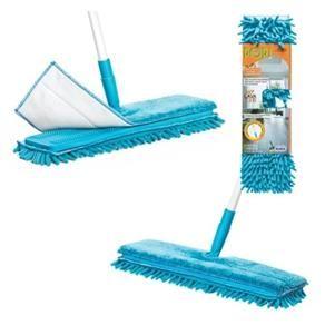Mop Vassoura Rodo com Flat Dupla Face Lava Limpa e Seca com Cabo Retatril