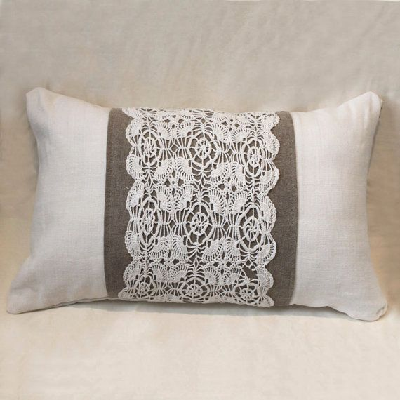 Shabby chic 13x20 cushion made of antique hand by Angelshair, $45.00