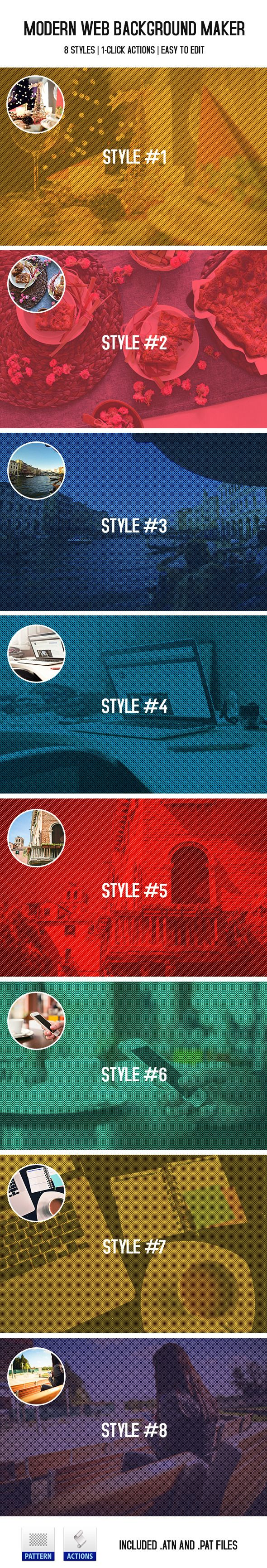 Modern Web Background Maker — Photoshop PAT #white #photo • Available here → https://graphicriver.net/item/modern-web-background-maker/10121964?ref=pxcr