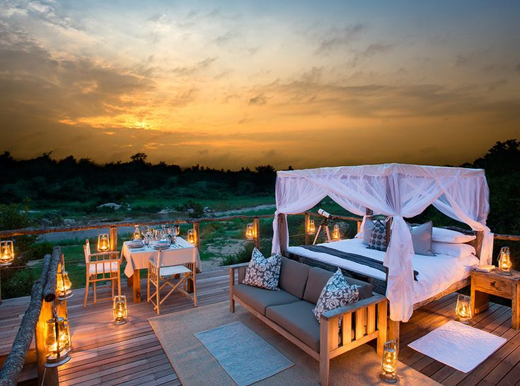 Lion Sands Lodge - A touch of romance overlooking the Sabie River, Lion Sands' six private villas are stylishly appointed, and offer supreme wildlife viewing—along with game drives, bush walks, bird watching, hippo tours, astronomy classes and luxury wellness treatments. For the perfect romantic evening, enjoy a candlelight picnic and spend a night under the stars in Chalkey's Tree-house, nestled in the branches of a majestic 500 year-old leadwood tree.