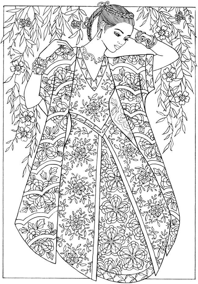 Creative Haven Fantasy Fashions Coloring Book | Dover Publications