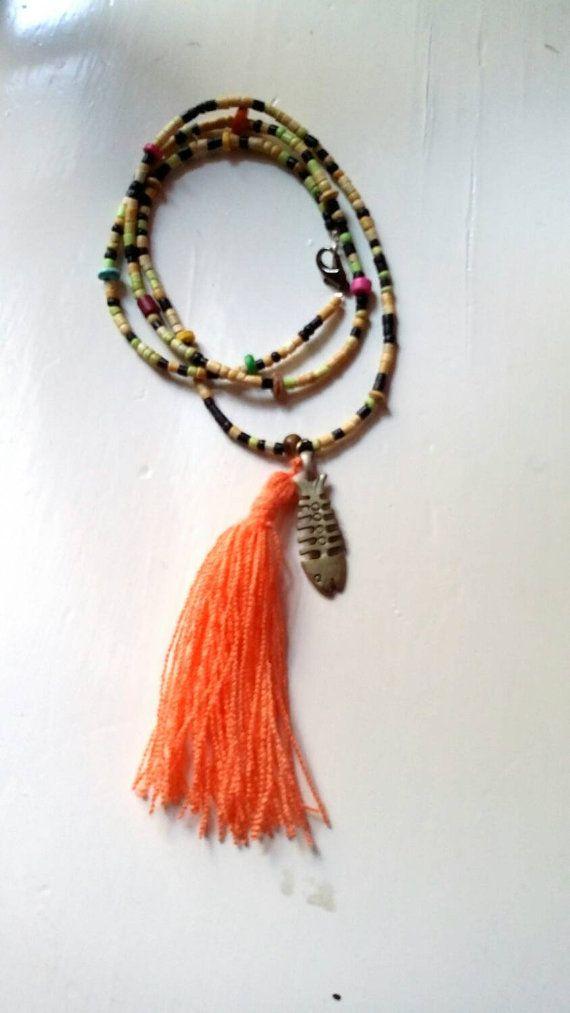 New Beige long charm necklace by KaterinakiJewelry on Etsy