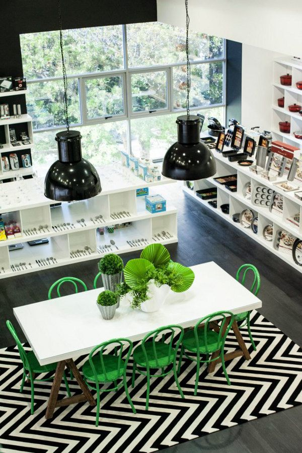 desire to inspire - desiretoinspire.net - Black and white and green... love the green bentwood chairs, wood table base and black walls